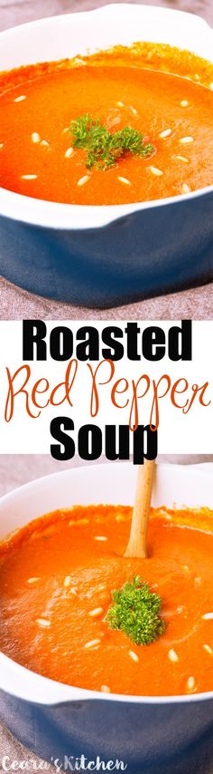 A creamy, healthy + flavorful Roasted Red Pepper Soup. The onions and garlic are roasted alongside the red peppers which deepens the rich flavors of this soup. This soup tastes fantastic for lunch or as an appetizer alongside crusty french bread! #soup #roastedredpepper #vegan #healthy #glutenfree #comfortfood #healthy
