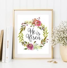 He Is Risen Print Easter Home Decor Easter by FloralArtFantasy