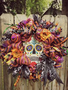 Sugar Skull Wreath Day of the Dead Wreath Dia by KattfishKreations