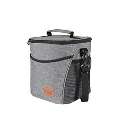 Large Insulated Lunch Bag with Zipper and Adjustable Strap, Front Pocket and Side Pocket