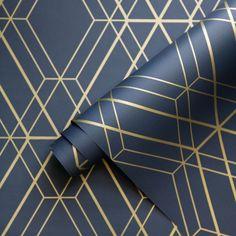 Metro Diamond Geometric Wallpaper - Navy Blue and Gold - Scroll . Metro Diamond Geometric Wallpaper - Navy Blue and Gold - Scroll . Blue And Gold Living Room, Navy Living Rooms, Dining Rooms, Geometric Wallpaper Navy, Trendy Wallpaper, Navy Wallpaper, Blue And Gold Wallpaper, Wallpaper Borders, Paper Wallpaper