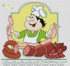 Кладовочка схем - вышивка крестиком Cross Stitch Kitchen, Crochet Kitchen, Logo Food, Cross Stitching, Yoshi, Daisy, Projects To Try, Floral Prints, Teddy Bear