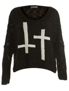 Oversized Sweater with crosses Love Label, Cross Shirts, Black Jumper, Oversized Jumper, Jumpers For Women, Sweater Shirt, So Little Time, Graphic Sweatshirt, Clothes For Women