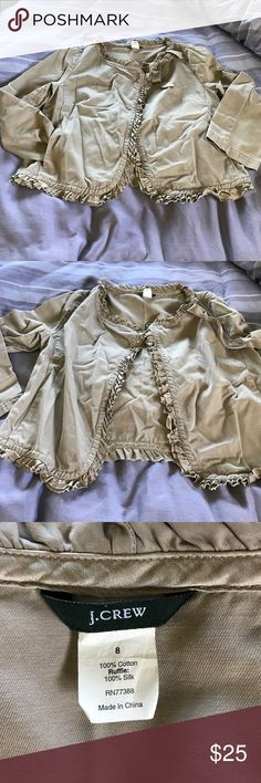 Canvas jacket with silk ruffles. Great with dresses and skirts. J. Crew Jackets & Coats Jean Jackets