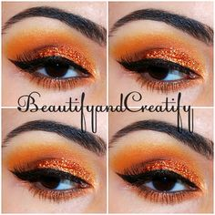 orange glitter - glamorous eye makeup look: Never be Afraid of Color featuring BH cosmetics 120 color palette 2nd edition