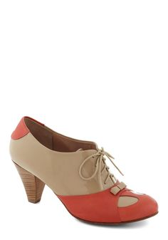 It's a Dune Deal Heel - Cream, Coral, Bows, Colorblocking, Lace Up, Mid, Leather, Vintage Inspired, 50s, Luxe