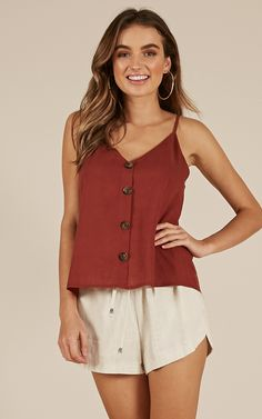 Showpo Some Hearts top in rust - 10 (M) Basic Tops