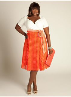 Rita Vintage Polka Dot Dress in Hot Coral  - igigi.com.  The Rita Vintage Polka Dot Dress turns back time with a look from the 1950s, incorporating a simple, demure silhouette and trend-perfect polka dots into the full featherweight chiffon skirt.