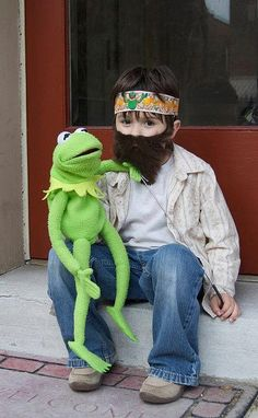 Hayden saw this picture & now wants to be Jim Henson for Halloween! Such a cute & unique costume idea! Love it!!! No book here. I just love Jim Henson.