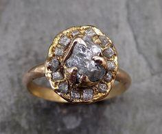 Raw Diamond Halo Engagement Ring Rough 18k rose Gold Wedding Ring diamond Wedding Set Stacking Ring Rough Diamond Ring