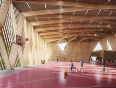 Wood Architecture School and Leisure Center - Tank Architects Timber Architecture, School Architecture, Architecture Details, Gymnasium Architecture, Hall Design, Roof Design, Ceiling Design, Timber Structure, Atrium