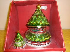 St. Nicholas Square Animated Train in Christmas Tree Music Box with Ornament