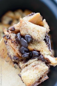 Crock pot chocolate chip french toast just made breakfast so much better. It's bite size and fun to eat!