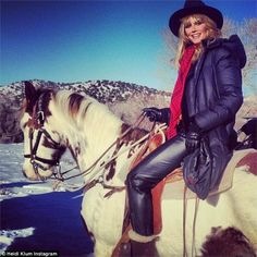 Just horsing around: Heidi Klum went horse riding in Utah on Wednesday and shared photos on Instagram