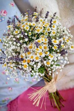 Creating a Cohesive Wedding Theme september flower and lavender bouquuet September flower and lavender bouquet-I'd do lilies of the valley instead of babies breath. September flower and lavender bouquet - I love daisies and there's lots of those here. Wild Flowers, Beautiful Flowers, Wild Flower Bouquets, Daisies Bouquet, Yellow Bouquets, Colorful Flowers, Beautiful Bride, Gypsophila Bouquet, Sunflowers And Daisies