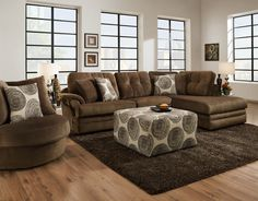Sofa Trendz Plush Grey/Brown Velvet/Fabric Sectional and Accent Ottoman (Set of (Grey) Sectional Living Room Sets, Brown Sectional, New Living Room, Living Room Furniture, Living Spaces, Leather Sofa Decor, Fabric Sectional, Sectional Sofas, Chaise Sofa