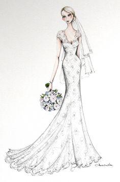 alexandra nea - one fine day Wedding Dress Illustrations, Wedding Dress Sketches, Dress Design Sketches, Fashion Design Sketches, Fashion Illustration Poses, Bridal Gowns, Wedding Dresses, Wedding Fair, Fashion Figures