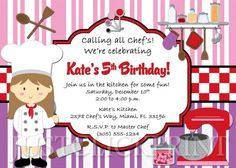 Cooking Party Birthday Invitation - Printable Uprint