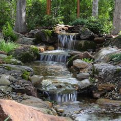 Backyard Waterfalls, Backyard Landscaping, Backyard Ideas, Garden Ideas, Backyard Stream, Backyard Water Feature, Water Features In The Garden, Garden Features, Ponds For Small Gardens