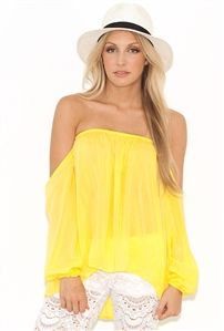 1ba3f4a66cb63 Elan International Off-The-Shoulder Strapless Top in Yellow Top P
