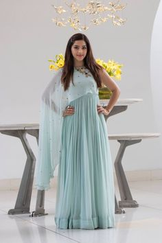 Latest Partywear Kurti Designs - All About The Woman Western Outfits For Women, Western Dresses For Girl, Gowns For Girls, Indian Dresses For Girls, Indian Gowns Dresses, Indian Fashion Dresses, Dress Indian Style, Frock Fashion, Stylish Dress Designs