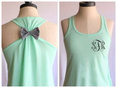 Love the monogram bow workout tank by my friend Sylvia!!   Monogrammed+Bow+Tanktop+by+personTen+on+Etsy,+$33.00