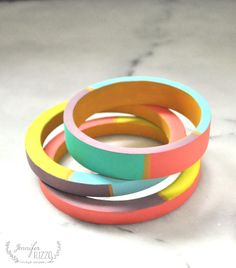 color-blocked wooden bangle bracelet - Jennifer Rizzo