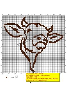 Contour vache marron Cross Stitch Needles, Beaded Cross Stitch, Counted Cross Stitch Patterns, Cross Stitch Charts, Blackwork Embroidery, Cross Stitch Embroidery, Cow Craft, Especie Animal, Dmc