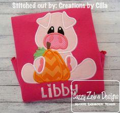 Pig with Pumpkin Applique Design: Jazzy Zebra Designs