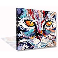 Colorful Cat Abstract Painting Modern Canvas Wall Art Picture Home Decoration Living Room Canvas Print Contemporary Painting-Large Canvas Landscape Framed Ready to hang