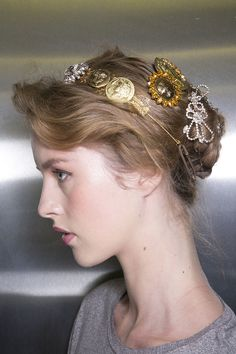 Dolce and Gabbana S/S 14 show, embellished hair