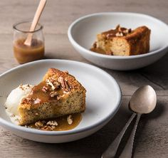 Warning: this is about to become your best ever banana cake recipe. A lighter twist on sticky toffee pudding. The bananas and yoghurt give this cake a lovely dense, moist texture. Serve warm with butterscotch syrup and vanilla ice cream, or as a lunchbox treat the next day.