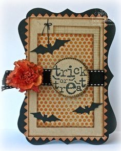 "Sweet ""Trick Or Treat"" Halloween Card...by Karemal...twopeasinabucket.com."