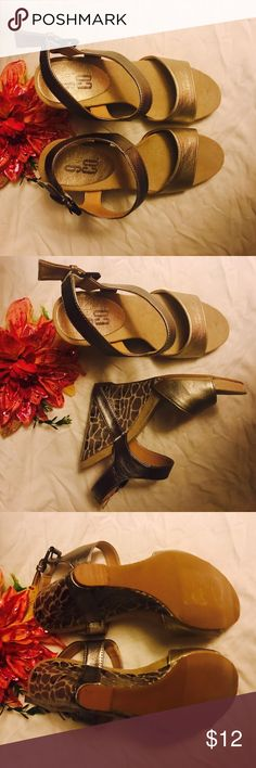 9 & Co Strappy Sandal Wedges- Beige Very cute and stylish! Heels measure 4 inches. Gently used. 9 & Co Shoes Wedges
