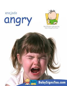 Free poster with the sign for ANGRY  www.BabySignsToo.com  #BabySigns #BabySignLanguage #BabySign