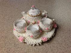 Tea set I painted and embellished to alter original gold color