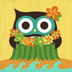 17B Bright Hula Owl 6x6 Print by leearthaus on Etsy. Owloha