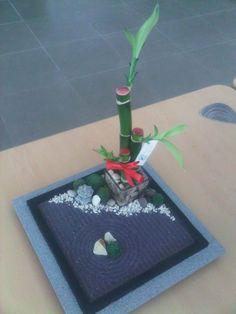 Miniature Zen Garden with Lucky Bamboo by WallzArt A Zen garden with gravel s… - Modern Indoor Zen Garden, Mini Zen Garden, Bamboo Garden, Garden Art, Miniature Zen Garden, Lucky Bamboo, Z Arts, Peace And Harmony, Garden Stones
