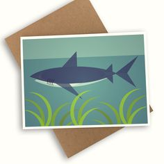 Mid Century Shark Card Plastic Waste, No Plastic, Bag Display, Save The Planet, Biodegradable Products, Shark, Recycling, Mid Century, Clouds
