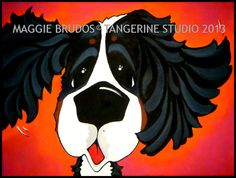 maggie brudos Bernese Mountain dog Whimsical by tangerinestudio, $58.00