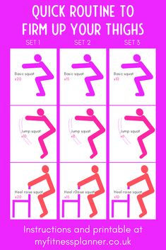 Squats are one of the best exercises to work the leg muscles.   This workout uses 3 versions of squats to work your leg muscles in different ways.  For best results, do 3 complete sets of the exercises and do the workout 2-3 times a week. With free printable workout chart | Workout planner printable from My Fitness Planner Workout Planner, Workout Calendar, Fitness Planner, Workout Schedule, Workout Guide, Best Leg Workout, Squat Workout, Printable Planner, Free Printable