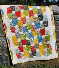Jack & Jill, A Modern Tumbler Quilt Pattern SJ-040e  put a white strip on top of color than cut tumbler