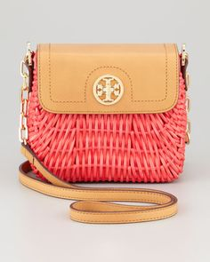 Lacquered Rattan Basket Shoulder Bag, Flame Red by Tory Burch at Neiman Marcus.