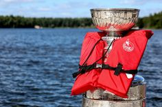 This goes on the LAKE board and the HOCKEY board: The Stanley Cup with a life jacket.  Port McNeill, British Columbia.