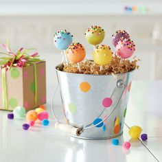 Birthday Party: Multi-Colored Cake Pops with Sprinkles from @michaelsstores.
