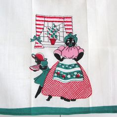 Vintage Towel Black Americana Mammy Watermelon Slice