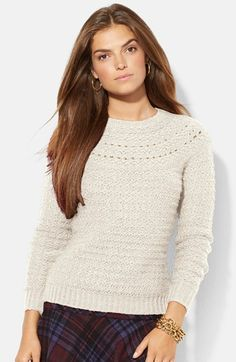 Lauren Ralph Lauren Pointelle Knit Sweater available at #Nordstrom