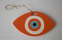 Wooden orange mati evil eye handmade 19χ11cm