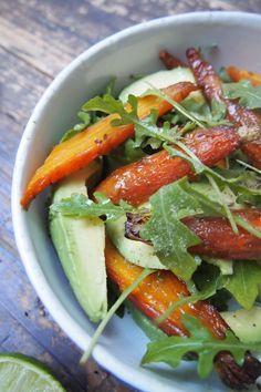 Salade carottes rôties, avocat