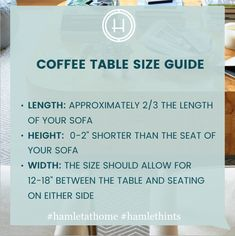 What's the right size for my coffee table? Here are our quick guidelines for picking the right piece. Enjoy! Want to chat more? Text our Stylist - for free! - at 646.586.2260 or via www.hellohamlet.com #hamlethints #hamletathome #howIhamlet